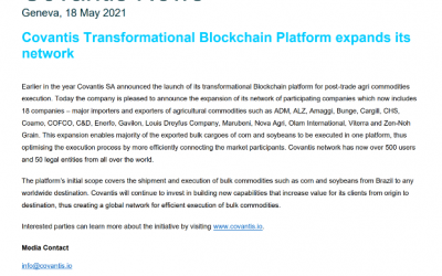 Covantis Transformational Blockchain Platform Expands its Network